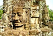 Close up of stone face carving at Angkor Wat