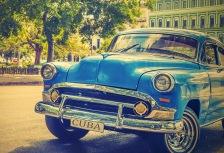 Blue vintage car in Havana