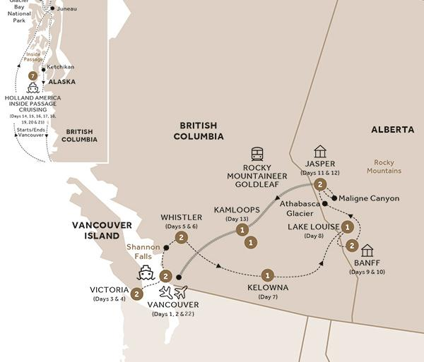 Majesty of the Rockies and Alaska Cruise Verandah Stateroom GoldLeaf (Summer 2018) tour