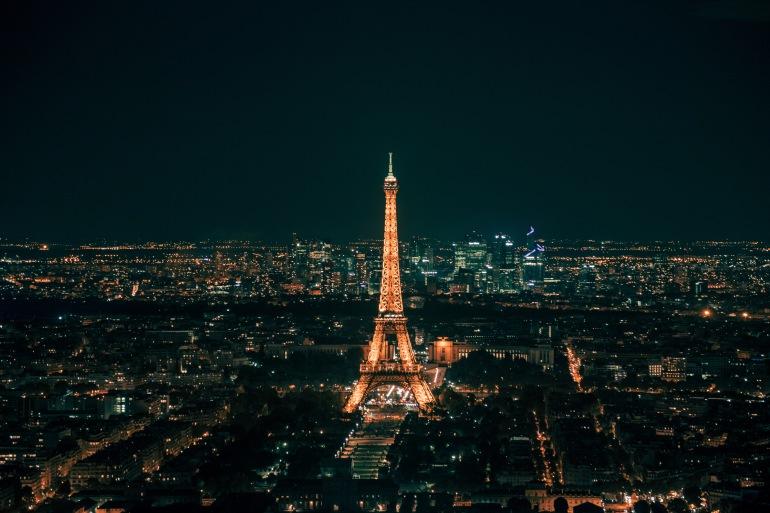 Night Lighting View of Eiffel Tower, France