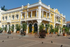 Cartagena old town colorful buildings and art sculptures