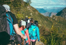 Hikers traveling the Inca Trail on the way to Machu Picchu