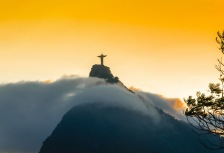 Christ the Redeemer stature in Rio at Sunset
