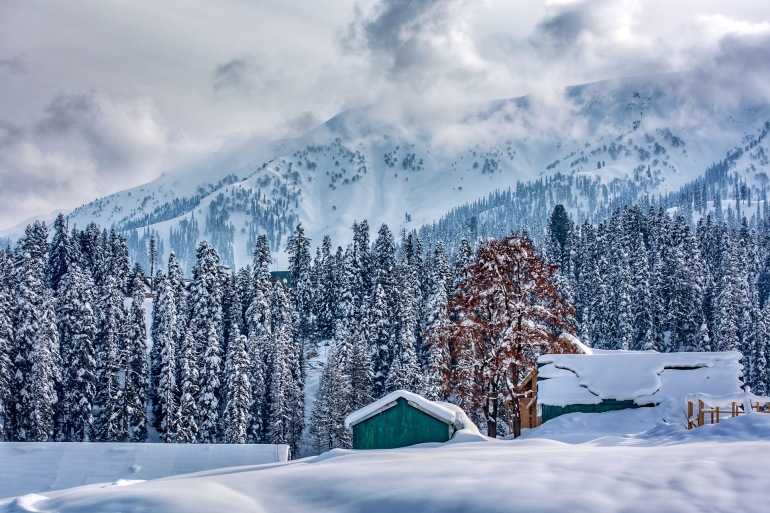 Snow Landscape of Gulmarg, India