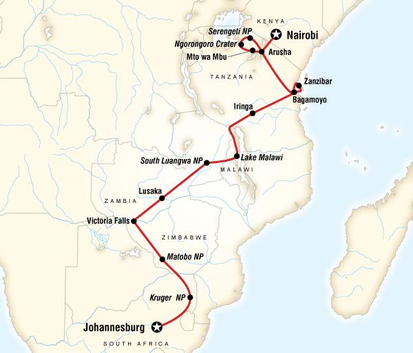 Arusha Johannesburg Falls, Beaches & Serengeti Adventure (Southbound) Trip