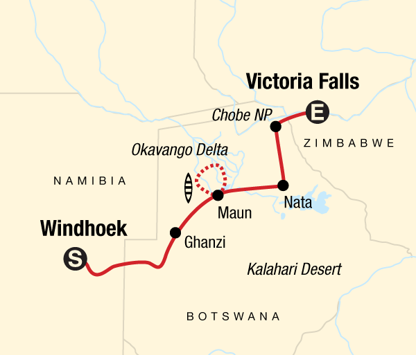 Kalahari Desert Kasane Botswana & Victoria Falls Adventure Trip
