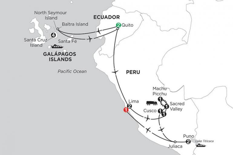 Cusco Guayaquil Galápagos Highlights & Peru with Lake Titicaca Trip