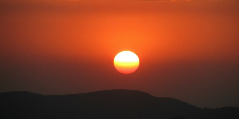 Bright red sunset in Ethiopia