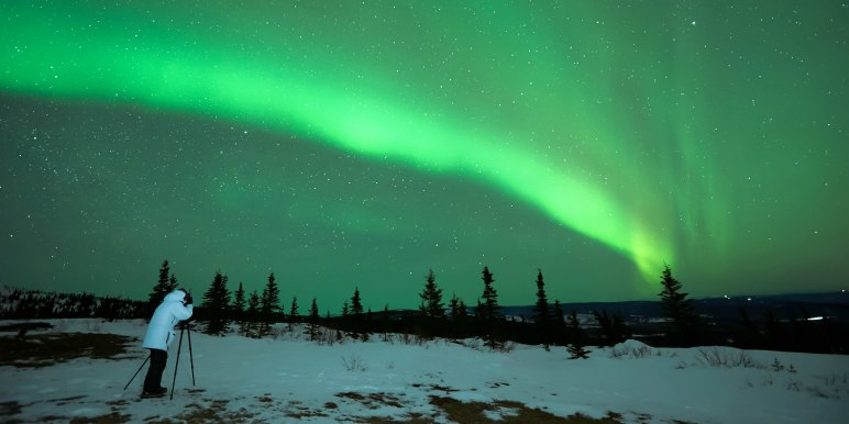 Taking photographs of the northern lights