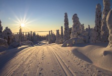 Beautiful sunrise on Finland tour in winter