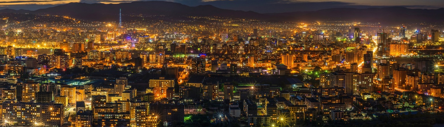 Light Night View of Ulaanbaatar Centre, Mongolia