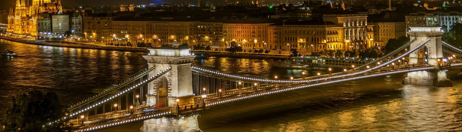 Royal Look of Chain Bridge at Budapest, Hungary