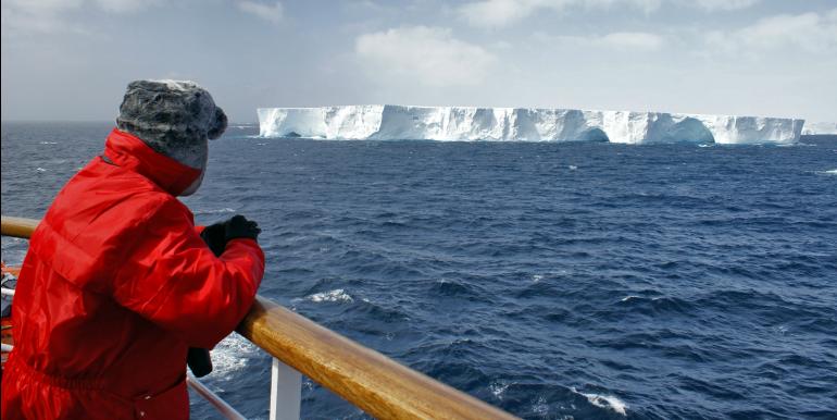 Traveler on a cruise in Antarctica