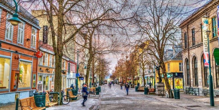 Street in Norway in winter