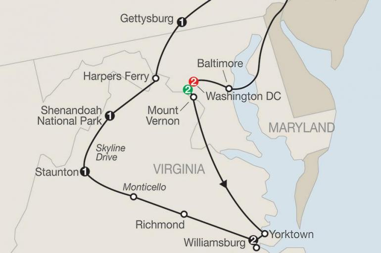 Charlottesville Gettysburg America's Historic East with Stay in Washington DC Trip