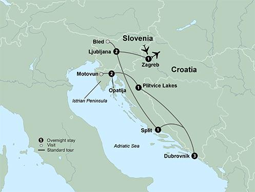 Split Zagreb Discover Croatia, Slovenia and the Adriatic Coast featuring Istrian Peninsula, Lake Bled, Dalmatian Coast and Dubrovnik Trip