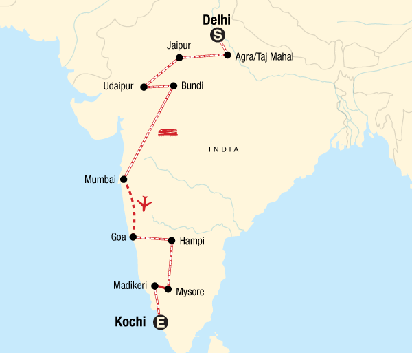 Agra Agra Fort Delhi to Kochi by Rail Trip