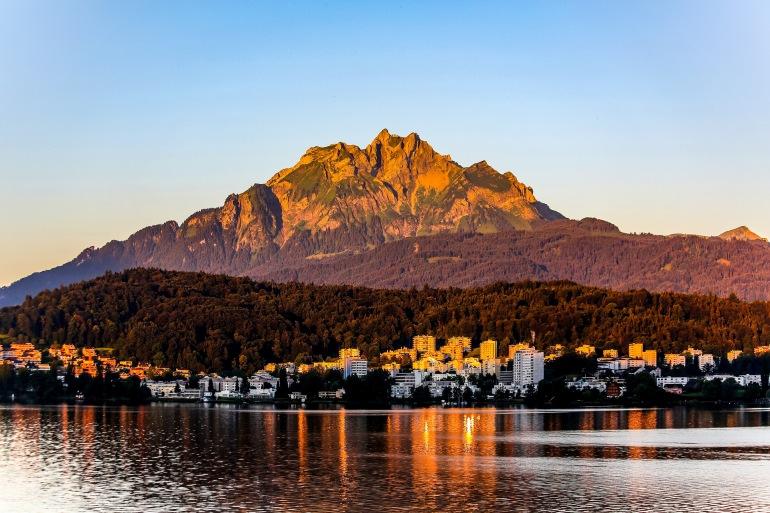 Lucerne sunrise mountain, Switzerland