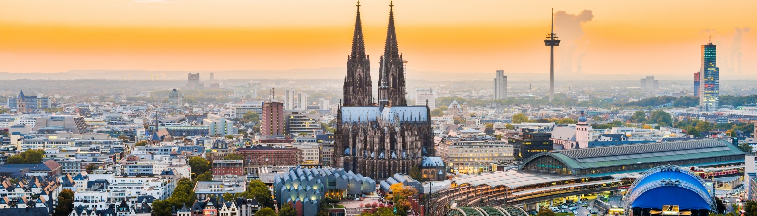 Panoramic view of Cologne Germany with Cosmos