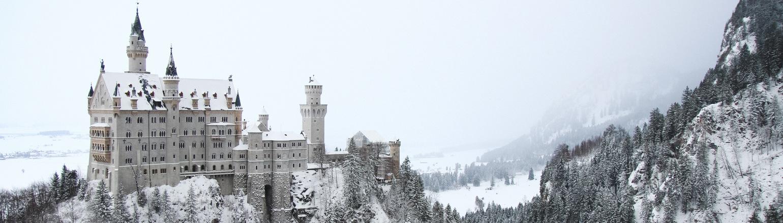 Amazing winter view of Neuschwanstein Caslte