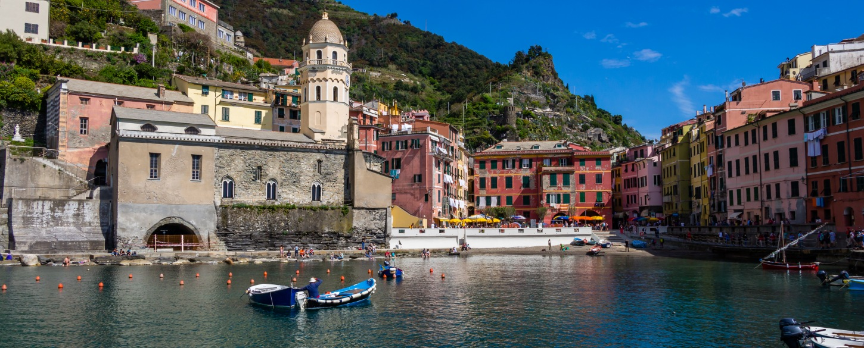 Beautiful Mediterranean harbor in Cinque Terre, Italy