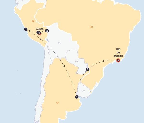 Aguas Calientes Buenos Aires The Explorer(With Inca Trail Trek,Start Cusco, End Rio de Janeiro) Trip