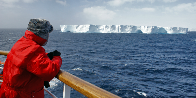 Traveler on a cruise in Antarctica