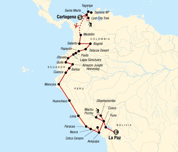 Arequipa Bath Colombia through the Andes–Cartagena to La Paz Trip