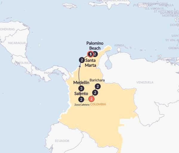 Bogota Caribbean Hola Colombia(Twin Room,Start Bogota, End Santa Marta) Trip
