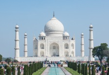 Beautiful Taj Mahal and reflecting pool in India