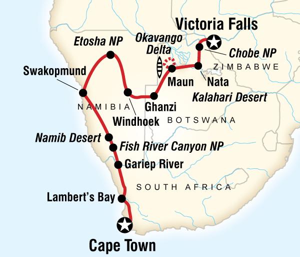 Cape Town Etosha National Park Cape Town to Victoria Falls Adventure Trip