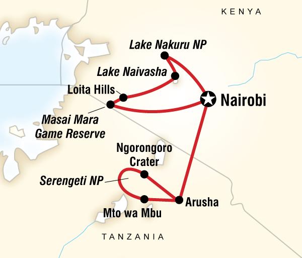 Arusha Lake Nakuru National Park Kenya & Tanzania Overland Express (Nairobi Loop) Trip