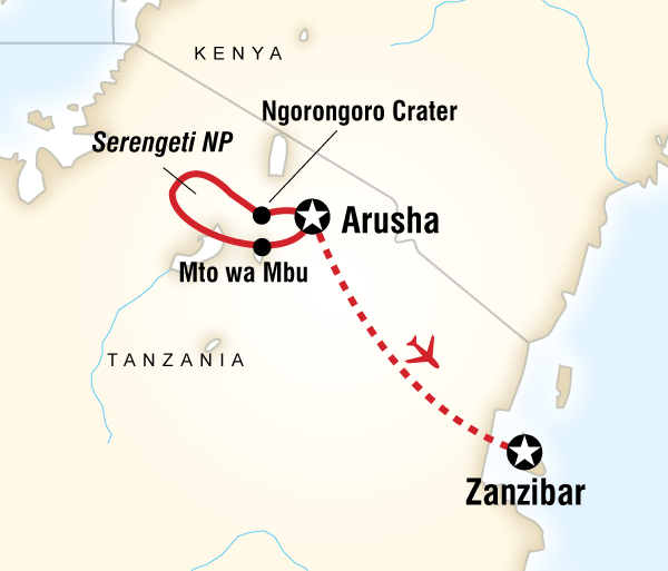 Arusha Ngorongoro Crater Tanzania & Zanzibar Adventure Trip