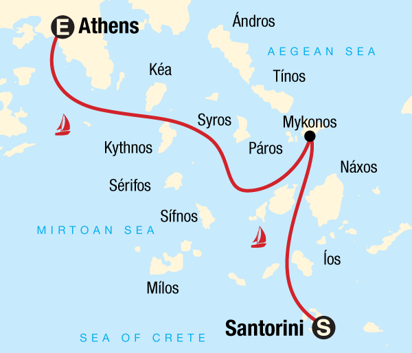 Athens Mykonos Sailing Greece - Santorini to Athens Trip