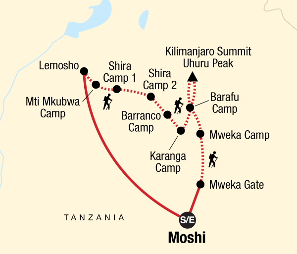 Adventure Hiking Mt Kilimanjaro Trek - Lemosho Route package