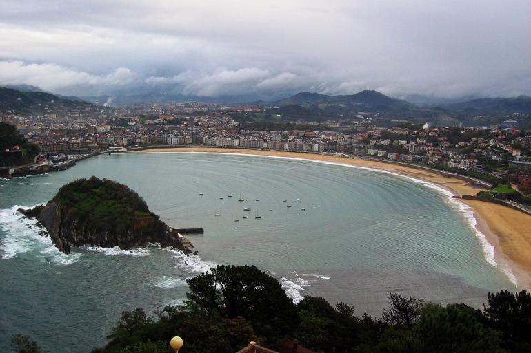 Panoramic View of San Sebastian Beach-Spain-2420870-P
