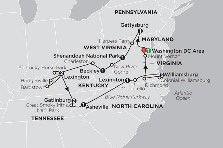 Charleston Gettysburg Historic Trails & Blue Ridge Mountains Trip