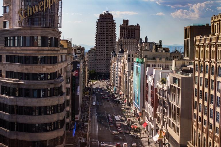 Top View Of Gran Vía, Madrid, Spain