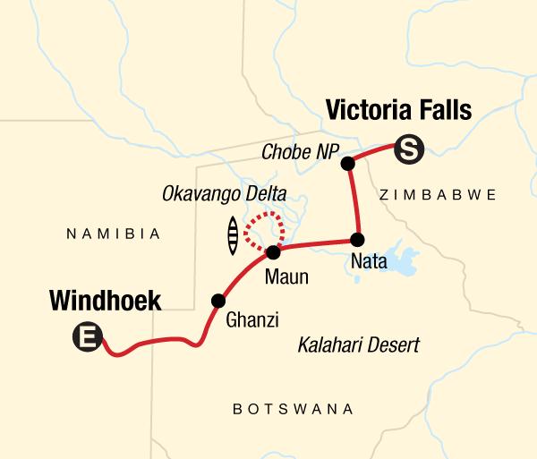 Chobe National Park Kalahari Desert Delta & Falls Discoverer Trip