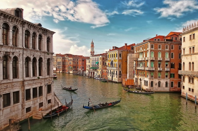 City with canal view of Venice, Europe_P