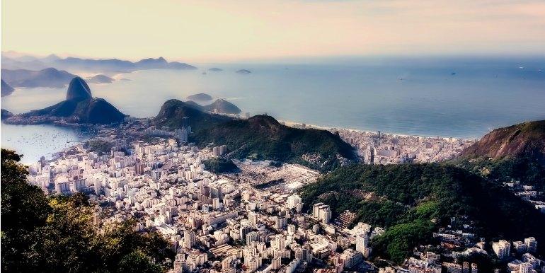 Aerial view of Rio de Janeiro at dusk