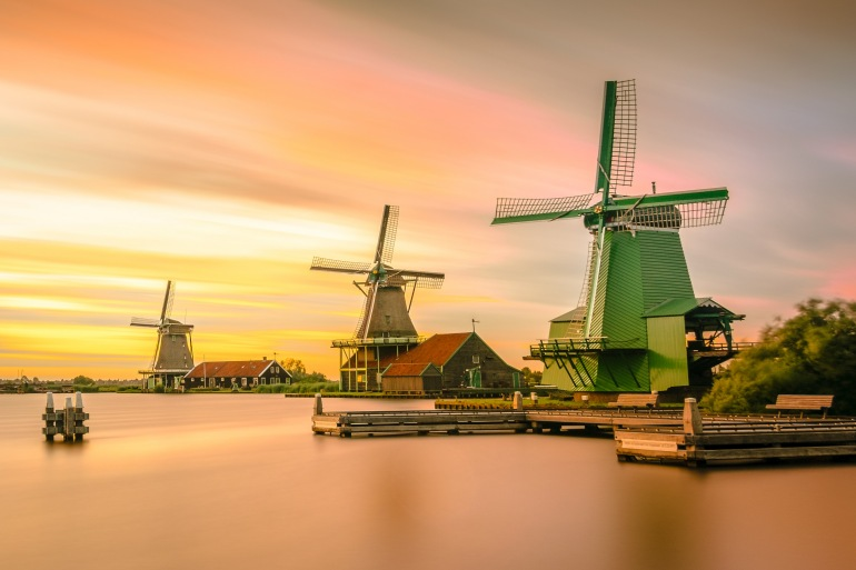 Sunset view of Windmill in Holland