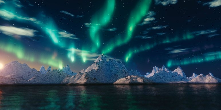 Northern Lights over icebergs