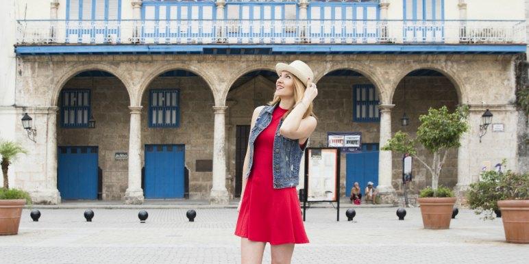 Young woman traveling in Havana, Cuba