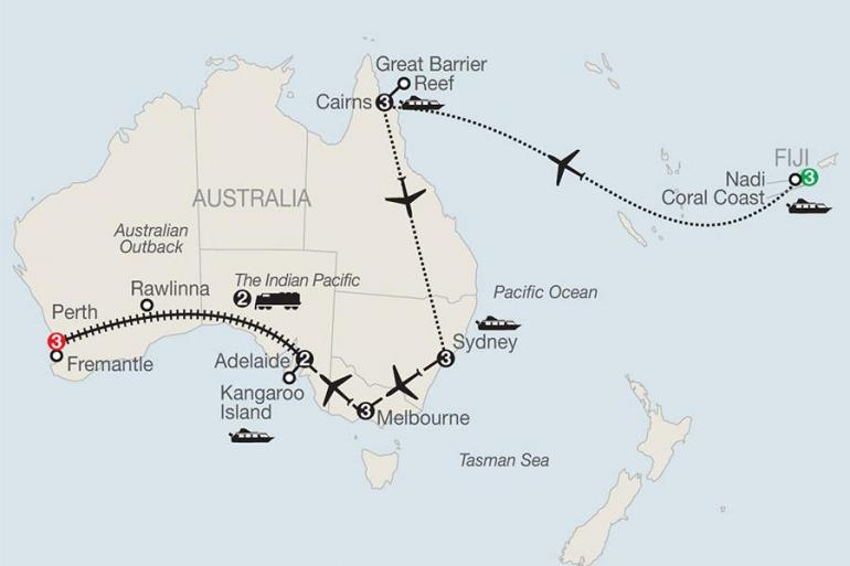 Adelaide Cairns Across Australia on the Historic Indian Pacific Train with Fiji & the Great Barrier Reef Trip