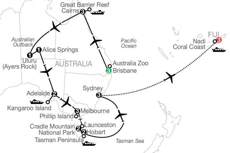 Adelaide Alice Springs Australian Safari with Fiji Trip