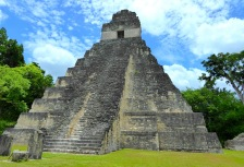 Large Mayan temple in Tikal, on Guatemala tour