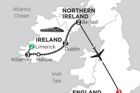 2 Nights Limerick, 3 Nights Killarney, 2 Nights Dublin, 2 Nights Belfast & 3 Nights London