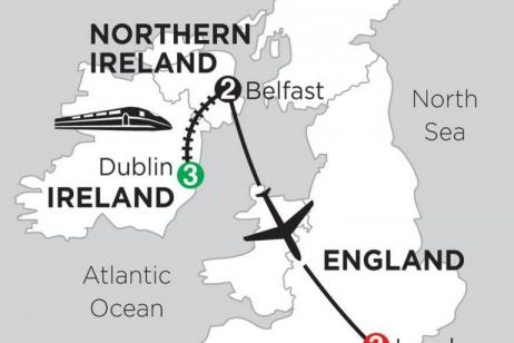 3 Nights Dublin, 2 Nights Belfast & 3 Nights London