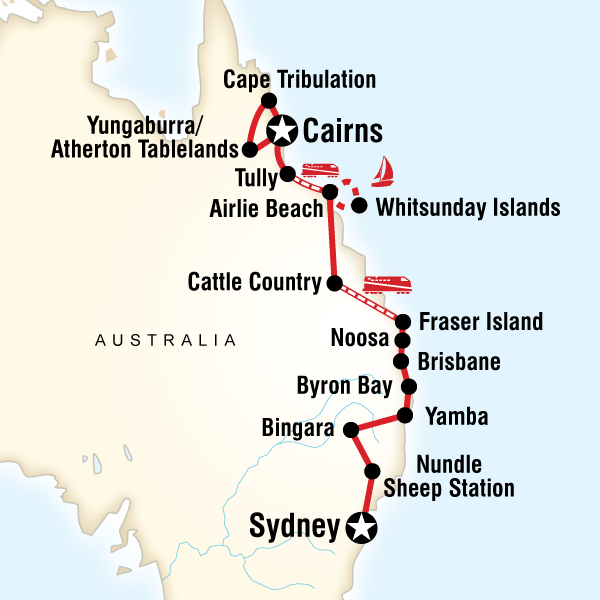 Brisbane Cairns East Coast Encompassed–Sydney to Cairns Trip